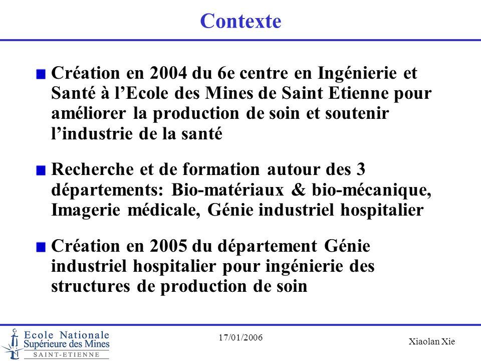 Xiaolan Xie 17/01/2006 Contexte Création en 2004 du 6e centre en Ingénierie et Santé à l'Ecole des Mines de Saint Etienne pour améliorer la production