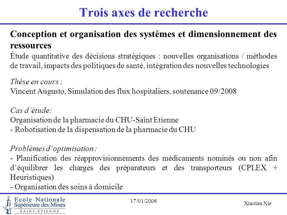Xiaolan Xie 17/01/2006 Trois axes de recherche Conception et organisation des systèmes et dimensionnement des ressources Étude quantitative des décisi