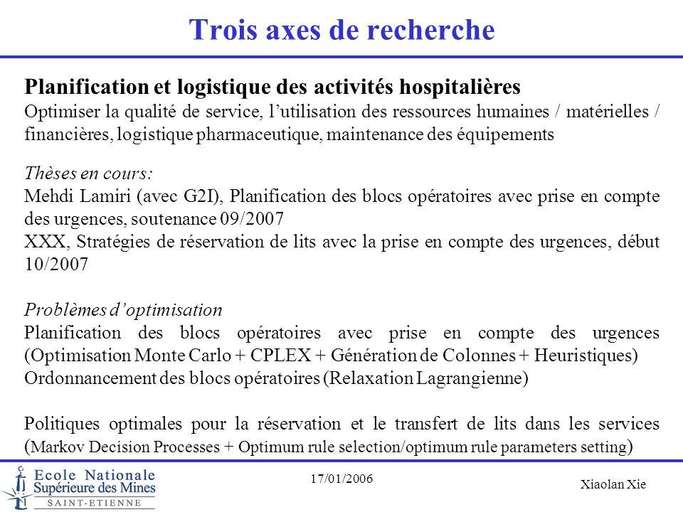 Xiaolan Xie 17/01/2006 Trois axes de recherche Planification et logistique des activités hospitalières Optimiser la qualité de service, l'utilisation