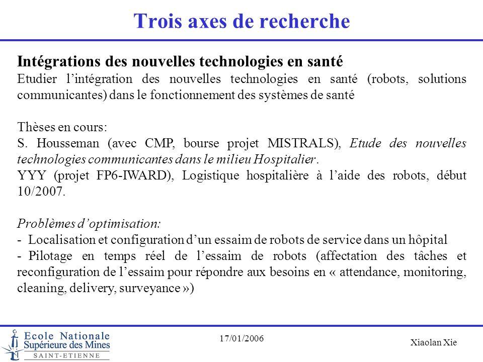 Xiaolan Xie 17/01/2006 Trois axes de recherche Intégrations des nouvelles technologies en santé Etudier l'intégration des nouvelles technologies en sa