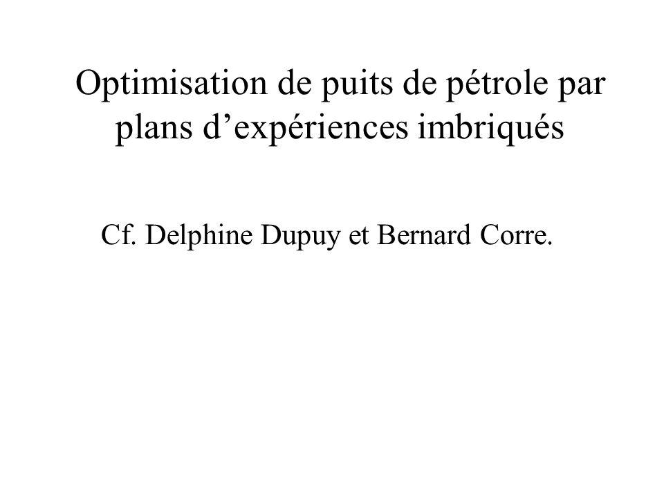 Optimisation de puits de pétrole par plans d'expériences imbriqués Cf. Delphine Dupuy et Bernard Corre.