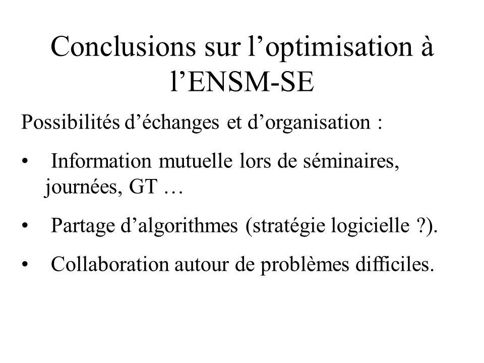 Conclusions sur l'optimisation à l'ENSM-SE Possibilités d'échanges et d'organisation : Information mutuelle lors de séminaires, journées, GT … Partage