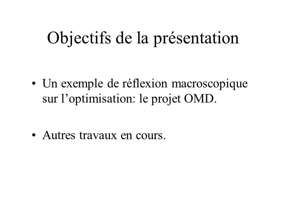 Objectifs de la présentation Un exemple de réflexion macroscopique sur l'optimisation: le projet OMD. Autres travaux en cours.