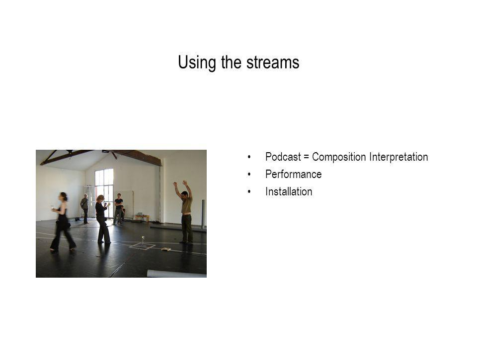 Using the streams Podcast = Composition Interpretation Performance Installation