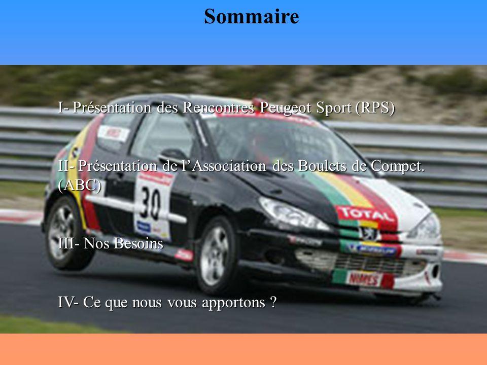 Présentation des Rencontres Peugeot Sport (RPS) 1- Description générale : Les Rencontres Peugeot Sport ou RPS sont des courses automobiles monotypes sur des circuits français plus un déplacement en Belgique à Spa.