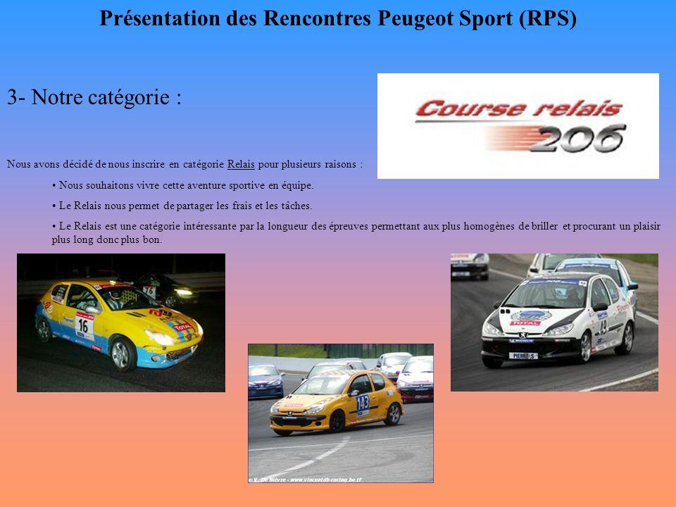 Présentation des Rencontres Peugeot Sport (RPS) 3- Notre catégorie : Nous avons décidé de nous inscrire en catégorie Relais pour plusieurs raisons : N