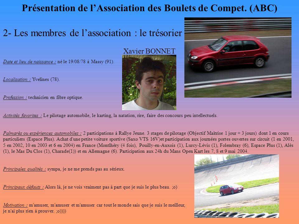 Présentation de l'Association des Boulets de Compet. (ABC) 2- Les membres de l'association : le trésorier Xavier BONNET Date et lieu de naissance : né