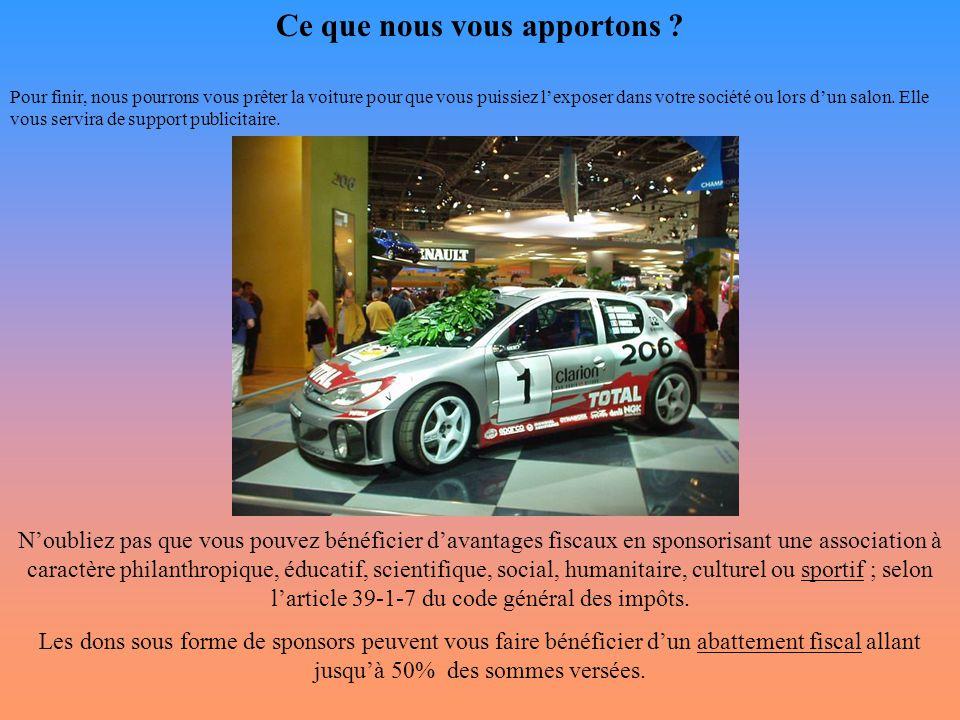 Ce que nous vous apportons ? Pour finir, nous pourrons vous prêter la voiture pour que vous puissiez l'exposer dans votre société ou lors d'un salon.