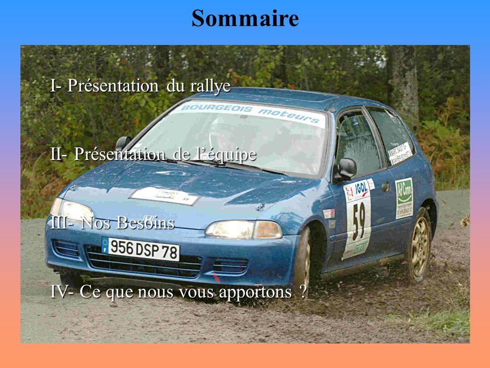 Sommaire I- Présentation du rallye II- Présentation de l'équipe III- Nos Besoins IV- Ce que nous vous apportons ?