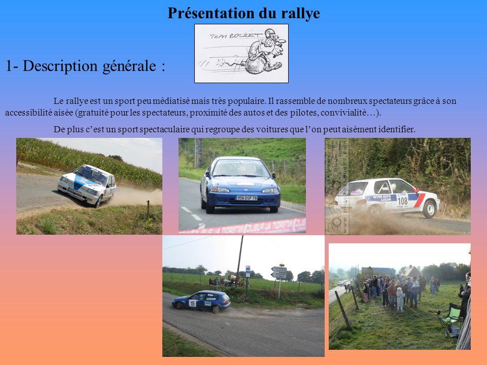 Présentation du rallye 1- Description générale : Le rallye est un sport peu médiatisé mais très populaire. Il rassemble de nombreux spectateurs grâce