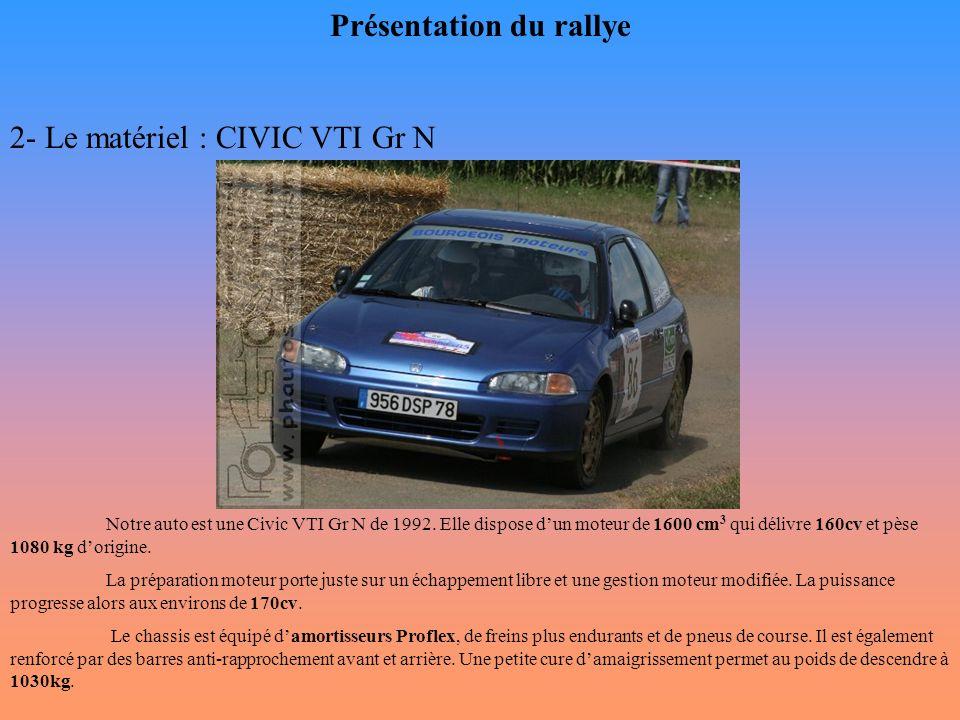 Présentation du rallye 2- Le matériel : CIVIC VTI Gr N Notre auto est une Civic VTI Gr N de 1992. Elle dispose d'un moteur de 1600 cm 3 qui délivre 16