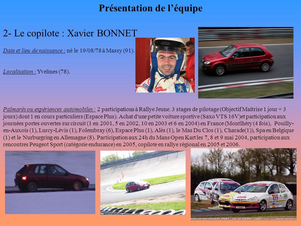 Présentation de l'équipe 2- Le copilote : Xavier BONNET Date et lieu de naissance : né le 19/08/78 à Massy (91). Localisation : Yvelines (78). Palmarè
