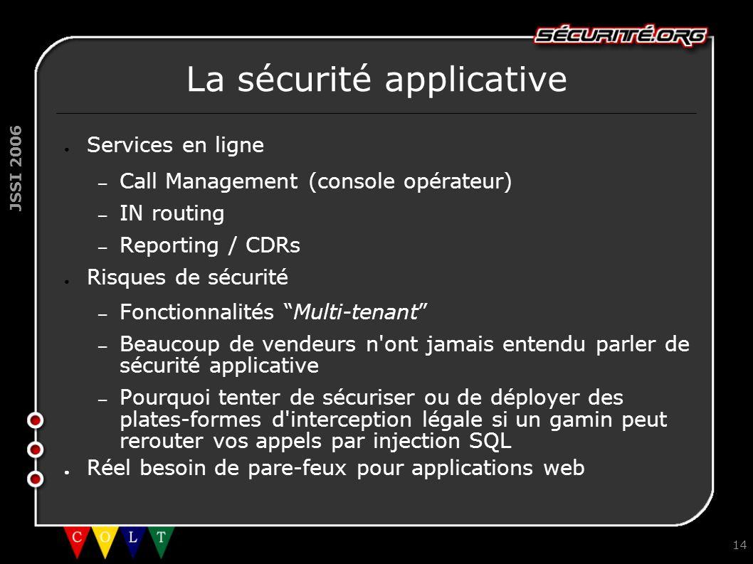 JSSI 2006 14 La sécurité applicative ● Services en ligne – Call Management (console opérateur) – IN routing – Reporting / CDRs ● Risques de sécurité –