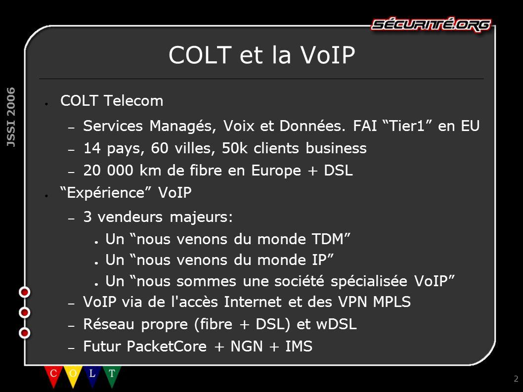 JSSI 2006 2 COLT et la VoIP ● COLT Telecom – Services Managés, Voix et Données.