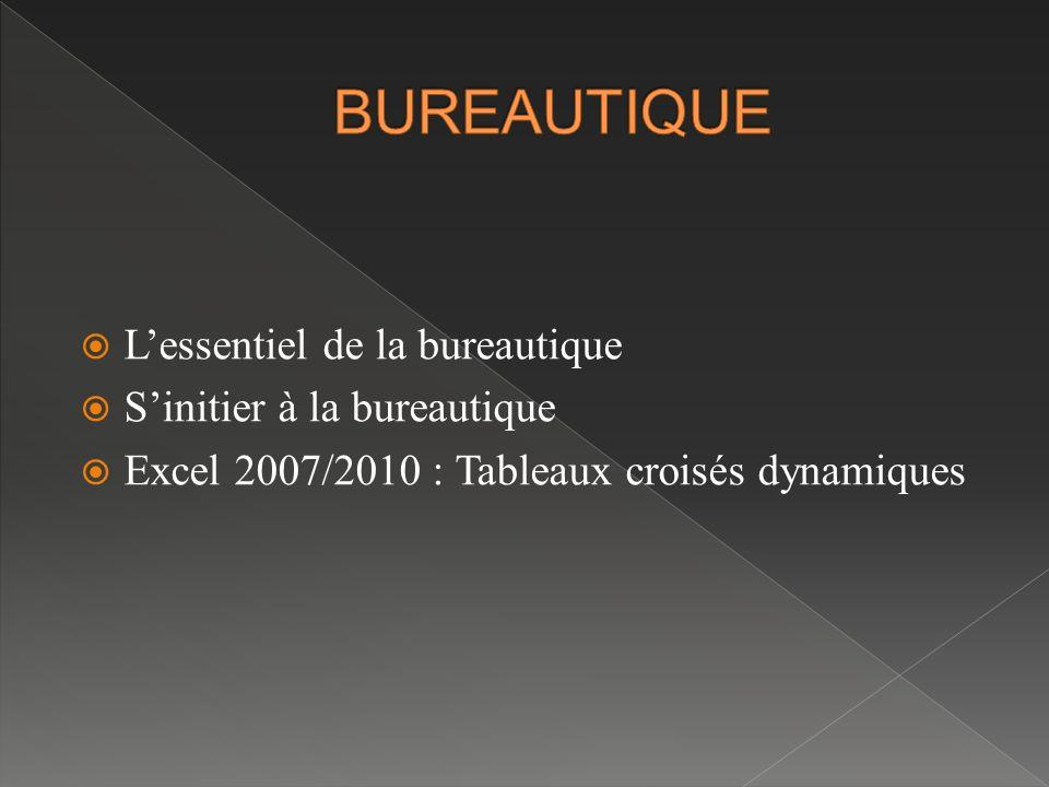  L'essentiel de la bureautique  S'initier à la bureautique  Excel 2007/2010 : Tableaux croisés dynamiques