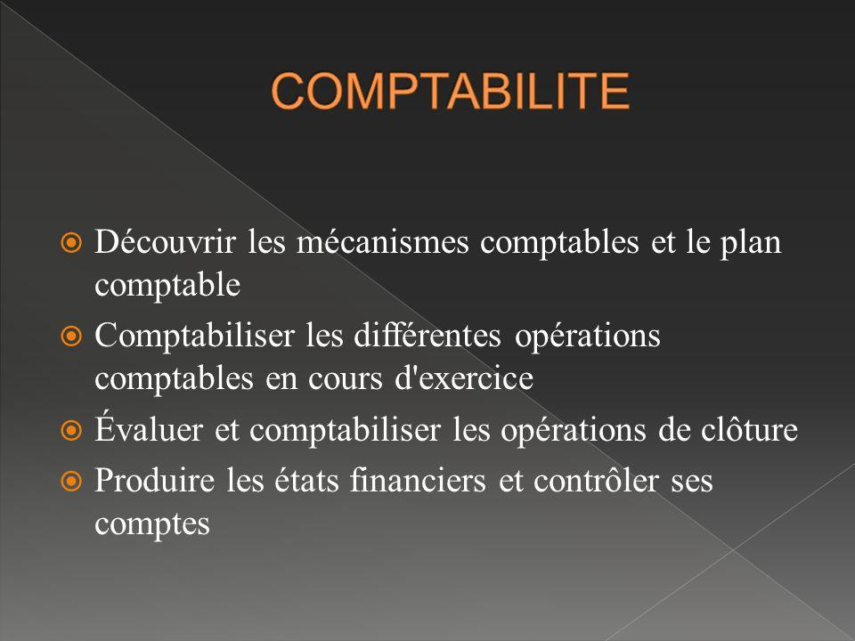  Découvrir les mécanismes comptables et le plan comptable  Comptabiliser les différentes opérations comptables en cours d exercice  Évaluer et comptabiliser les opérations de clôture  Produire les états financiers et contrôler ses comptes