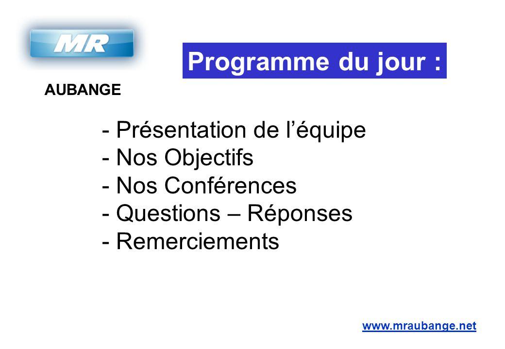 AUBANGE www.mraubange.net Programme du jour : - Présentation de l'équipe - Nos Objectifs - Nos Conférences - Questions – Réponses - Remerciements