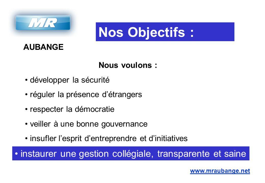 AUBANGE www.mraubange.net Nos Objectifs : Nous voulons : développer la sécurité réguler la présence d'étrangers respecter la démocratie veiller à une