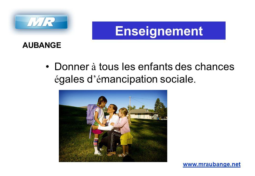 AUBANGE www.mraubange.net Enseignement Donner à tous les enfants des chances é gales d 'é mancipation sociale.
