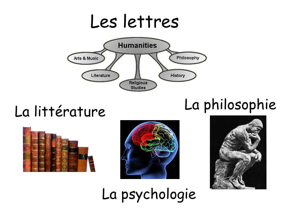 Les lettres La psychologie La philosophie La littérature