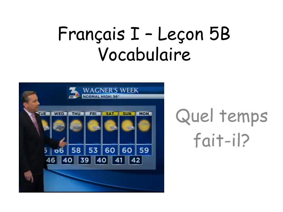 Français I – Leçon 5B Vocabulaire Quel temps fait-il?