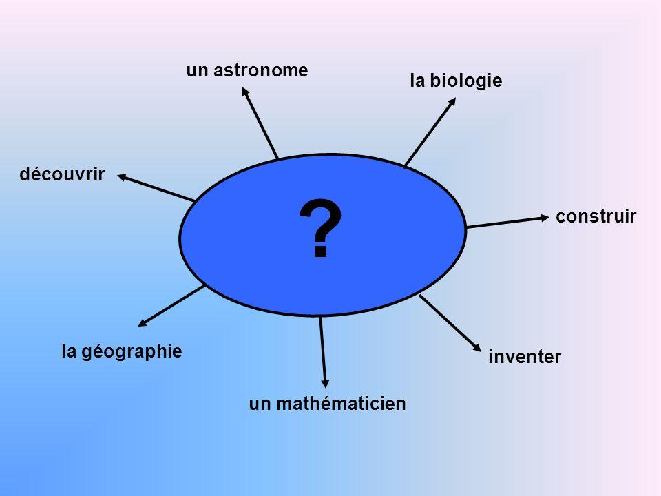 un astronome la biologie un mathématicien construir la géographie découvrir inventer ?