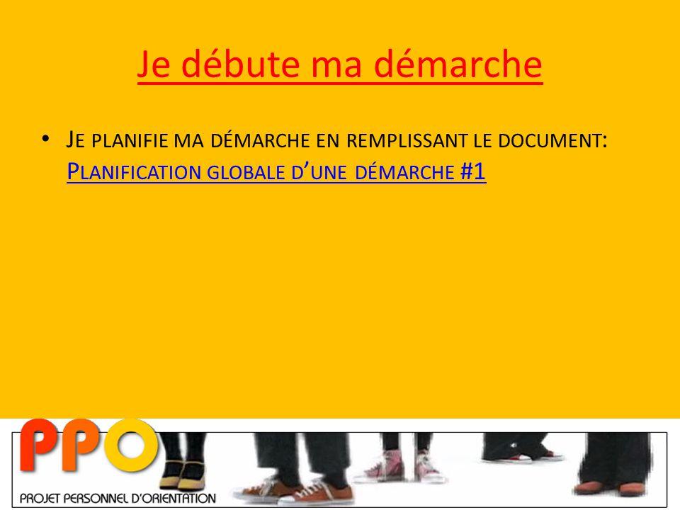 Je débute ma démarche J E PLANIFIE MA DÉMARCHE EN REMPLISSANT LE DOCUMENT : P LANIFICATION GLOBALE D ' UNE DÉMARCHE #1 P LANIFICATION GLOBALE D ' UNE