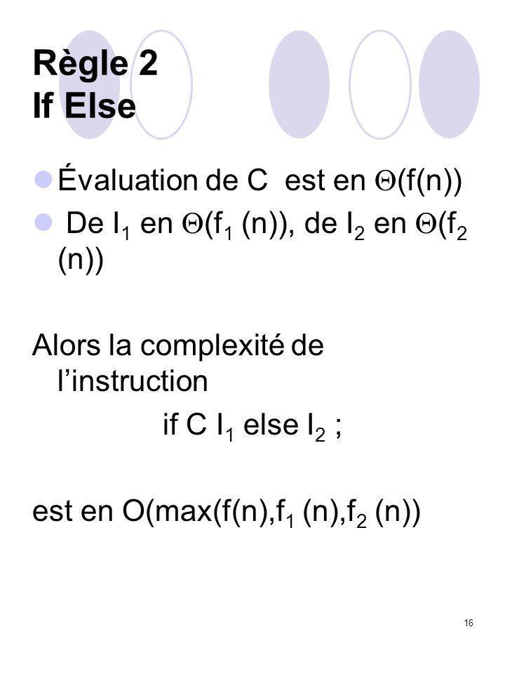 16 Règle 2 If Else Évaluation de C est en  (f(n)) De I 1 en  (f 1 (n)), de I 2 en  (f 2 (n)) Alors la complexité de l'instruction if C I 1 else I 2