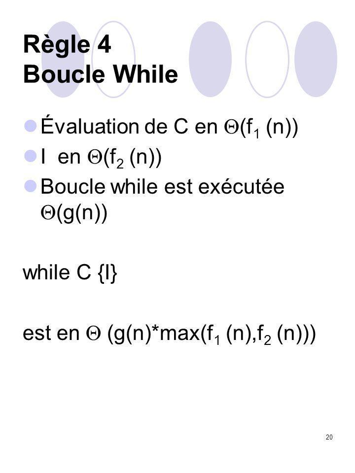 20 Règle 4 Boucle While Évaluation de C en  (f 1 (n)) I en  (f 2 (n)) Boucle while est exécutée  (g(n)) while C {I} est en  (g(n)*max(f 1 (n),f 2