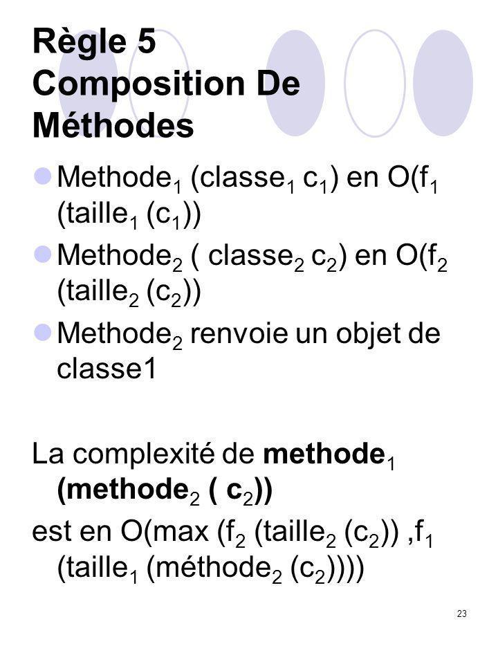 23 Règle 5 Composition De Méthodes Methode 1 (classe 1 c 1 ) en O(f 1 (taille 1 (c 1 )) Methode 2 ( classe 2 c 2 ) en O(f 2 (taille 2 (c 2 )) Methode