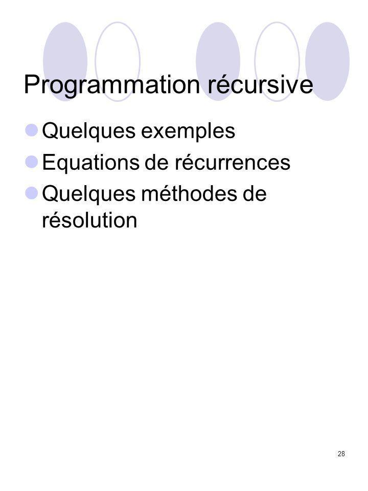 28 Programmation récursive Quelques exemples Equations de récurrences Quelques méthodes de résolution