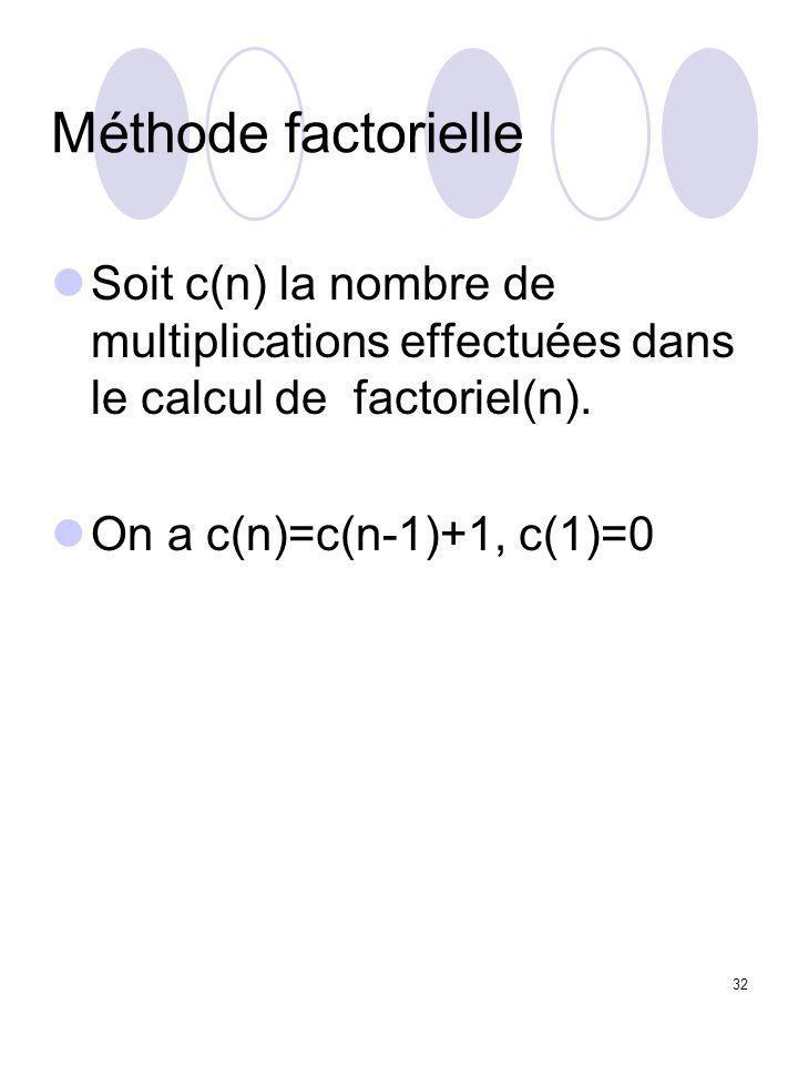 32 Méthode factorielle Soit c(n) la nombre de multiplications effectuées dans le calcul de factoriel(n). On a c(n)=c(n-1)+1, c(1)=0