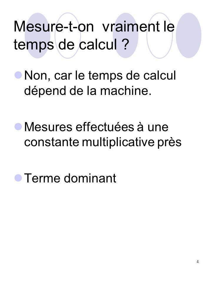 4 Mesure-t-on vraiment le temps de calcul ? Non, car le temps de calcul dépend de la machine. Mesures effectuées à une constante multiplicative près T