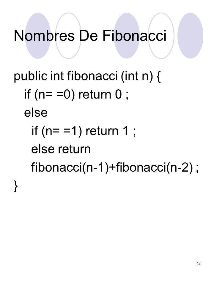 42 Nombres De Fibonacci public int fibonacci (int n) { if (n= =0) return 0 ; else if (n= =1) return 1 ; else return fibonacci(n-1)+fibonacci(n-2) ; }
