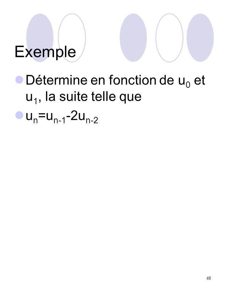 48 Exemple Détermine en fonction de u 0 et u 1, la suite telle que u n =u n-1 -2u n-2