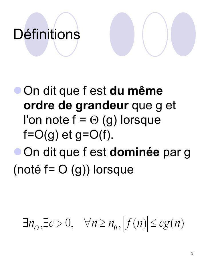 5 Définitions On dit que f est du même ordre de grandeur que g et l'on note f =  (g) lorsque f=O(g) et g=O(f). On dit que f est dominée par g (noté f