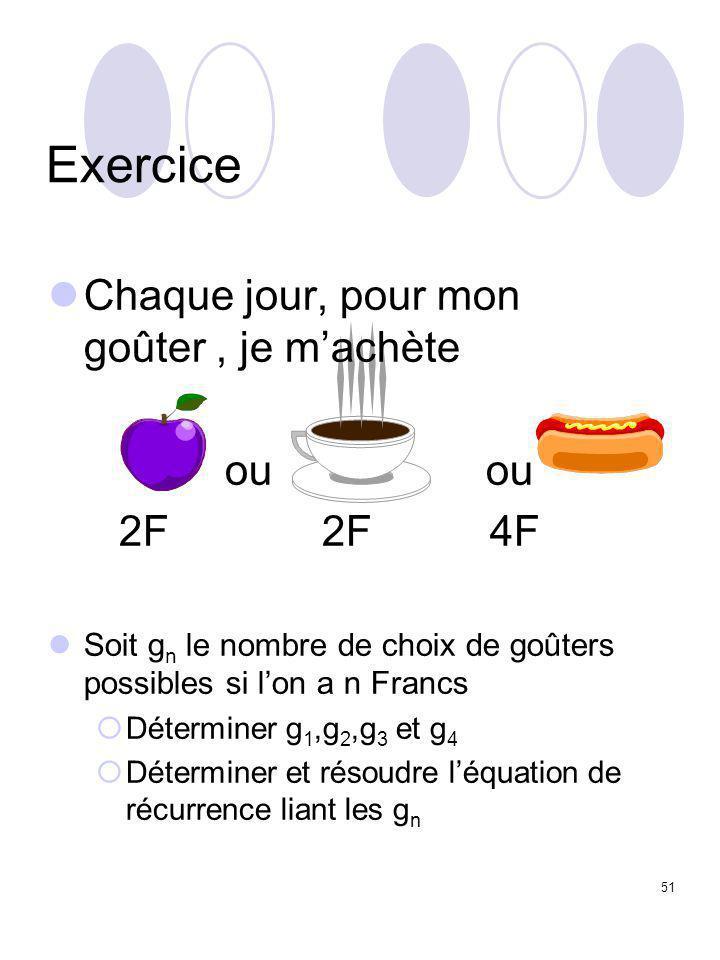 51 Exercice Chaque jour, pour mon goûter, je m'achète ou ou 2F 2F 4F Soit g n le nombre de choix de goûters possibles si l'on a n Francs  Déterminer