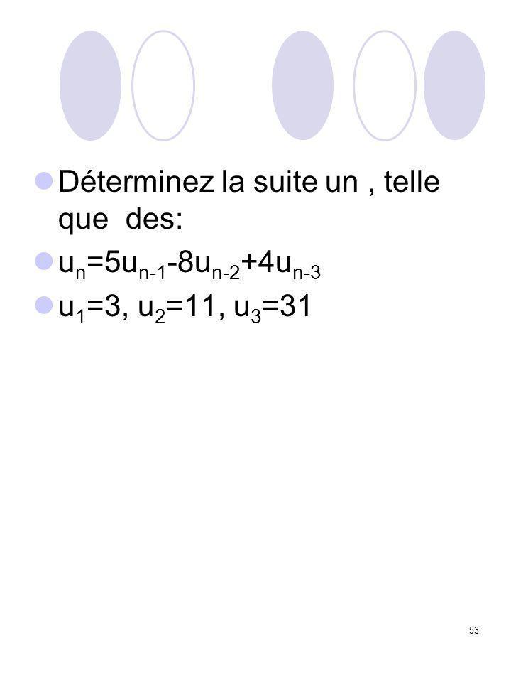 53 Déterminez la suite un, telle que des: u n =5u n-1 -8u n-2 +4u n-3 u 1 =3, u 2 =11, u 3 =31