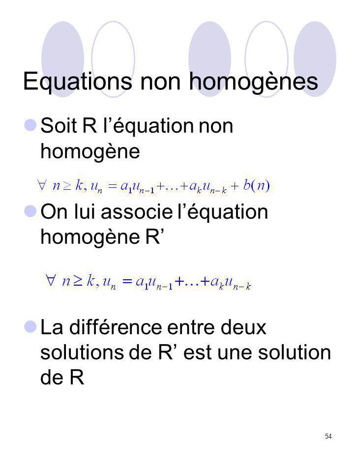54 Equations non homogènes Soit R l'équation non homogène On lui associe l'équation homogène R' La différence entre deux solutions de R' est une solut