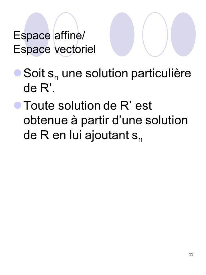 55 Espace affine/ Espace vectoriel Soit s n une solution particulière de R'. Toute solution de R' est obtenue à partir d'une solution de R en lui ajou