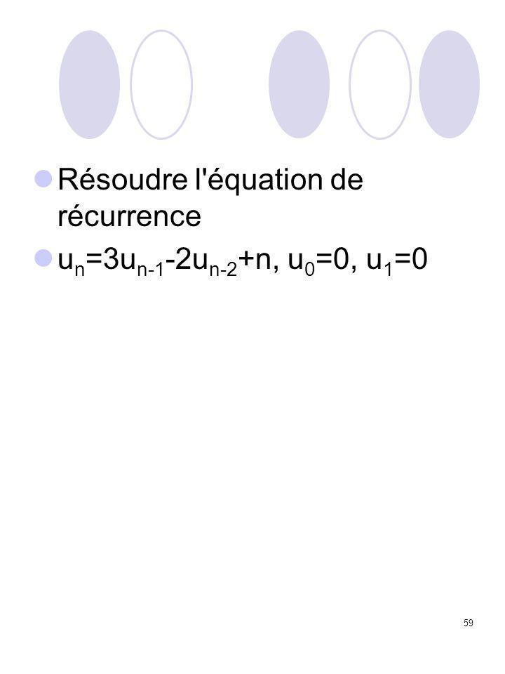 59 Résoudre l'équation de récurrence u n =3u n-1 -2u n-2 +n, u 0 =0, u 1 =0