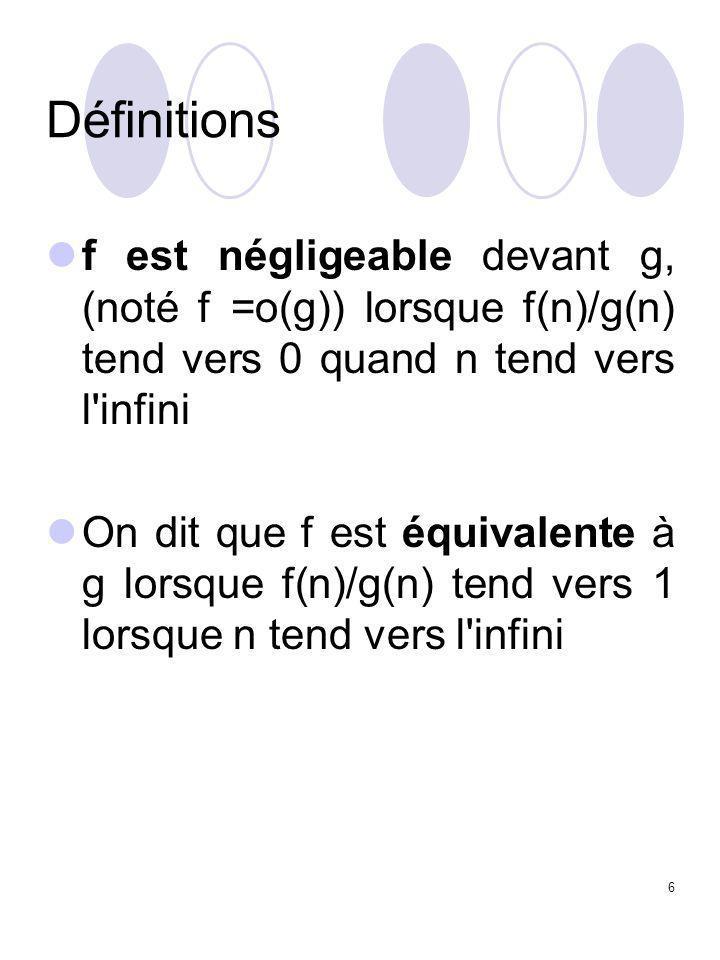 7 Polynômes et notations O et  Soit P (n) un polynôme en n.