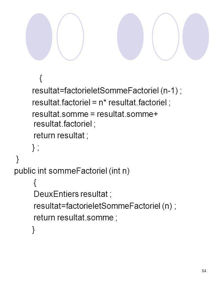 64 { resultat=factorieletSommeFactoriel (n-1) ; resultat.factoriel = n* resultat.factoriel ; resultat.somme = resultat.somme+ resultat.factoriel ; ret