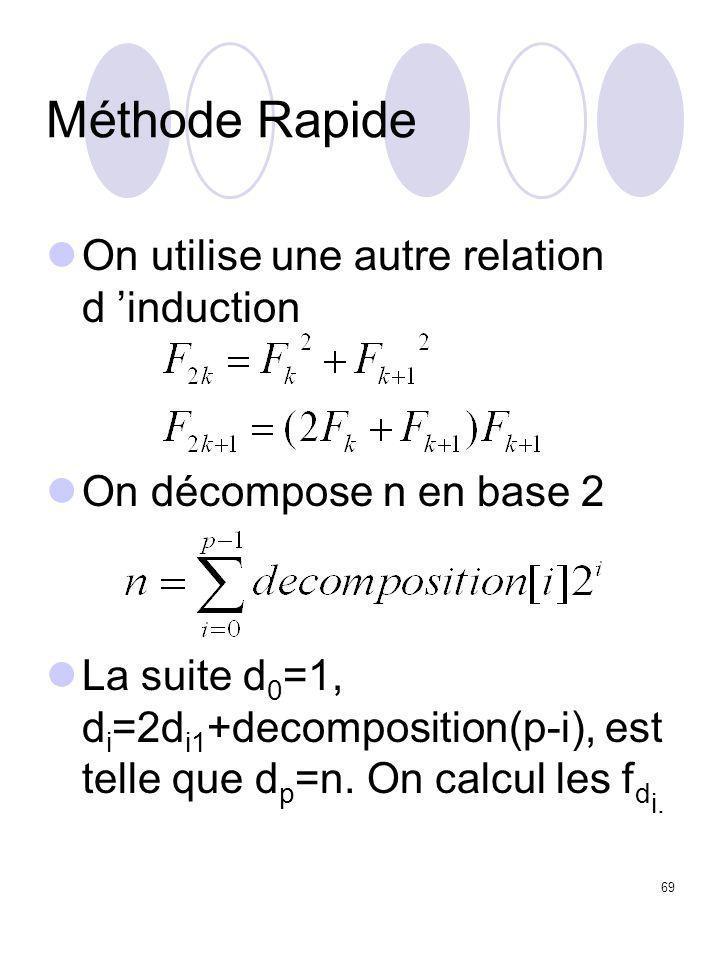 69 Méthode Rapide On utilise une autre relation d 'induction On décompose n en base 2 La suite d 0 =1, d i =2d i1 +decomposition(p-i), est telle que d