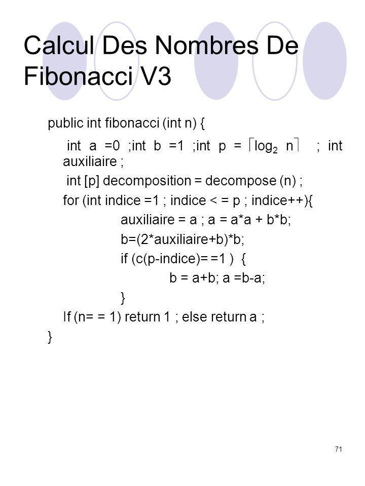 71 Calcul Des Nombres De Fibonacci V3 public int fibonacci (int n) { int a =0 ;int b =1 ;int p =  log 2 n  ; int auxiliaire ; int [p] decomposition