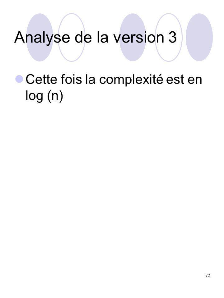 72 Analyse de la version 3 Cette fois la complexité est en log (n)