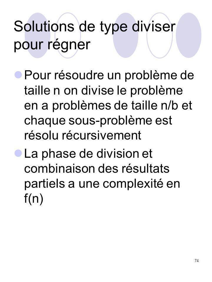 74 Solutions de type diviser pour régner Pour résoudre un problème de taille n on divise le problème en a problèmes de taille n/b et chaque sous-probl