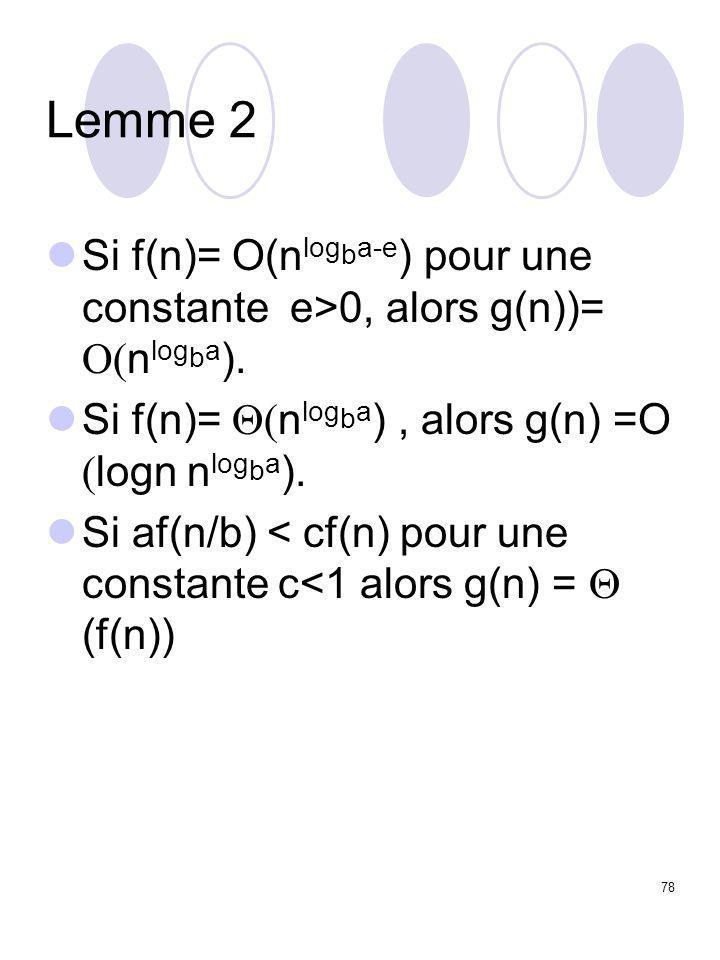 78 Lemme 2 Si f(n)= O(n log b a-e ) pour une constante e>0, alors g(n))=  n log b a ). Si f(n)=  n log b a ), alors g(n) =O  logn  n log b a ).