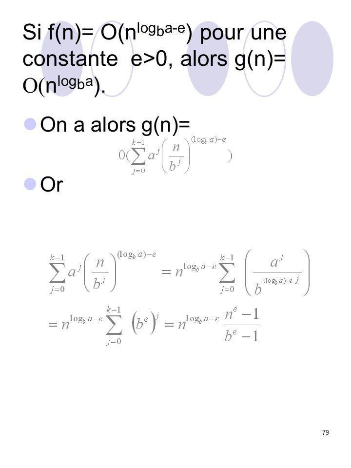 79 Si f(n)= O(n log b a-e ) pour une constante e>0, alors g(n)=  n log b a ). On a alors g(n)= Or