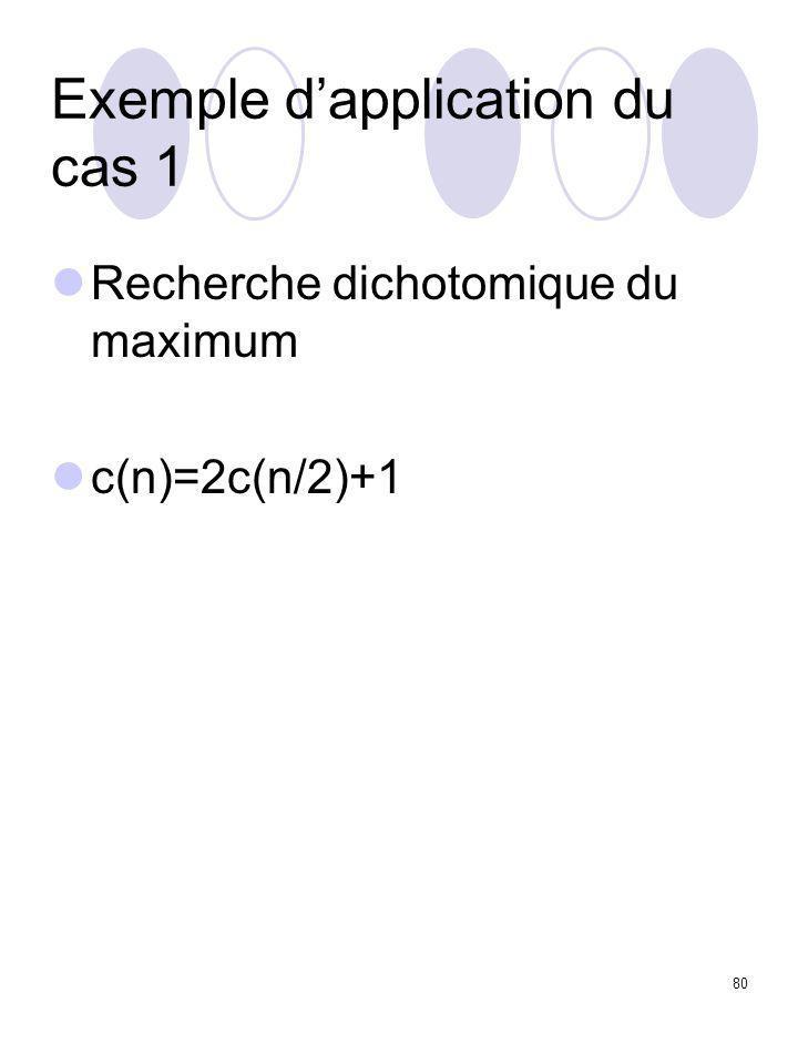 80 Exemple d'application du cas 1 Recherche dichotomique du maximum c(n)=2c(n/2)+1